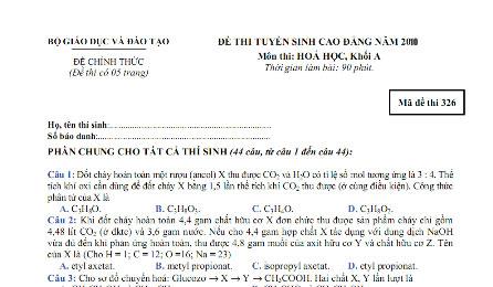 đáp án đại học cao đẳng môn toán khối a năm 2010